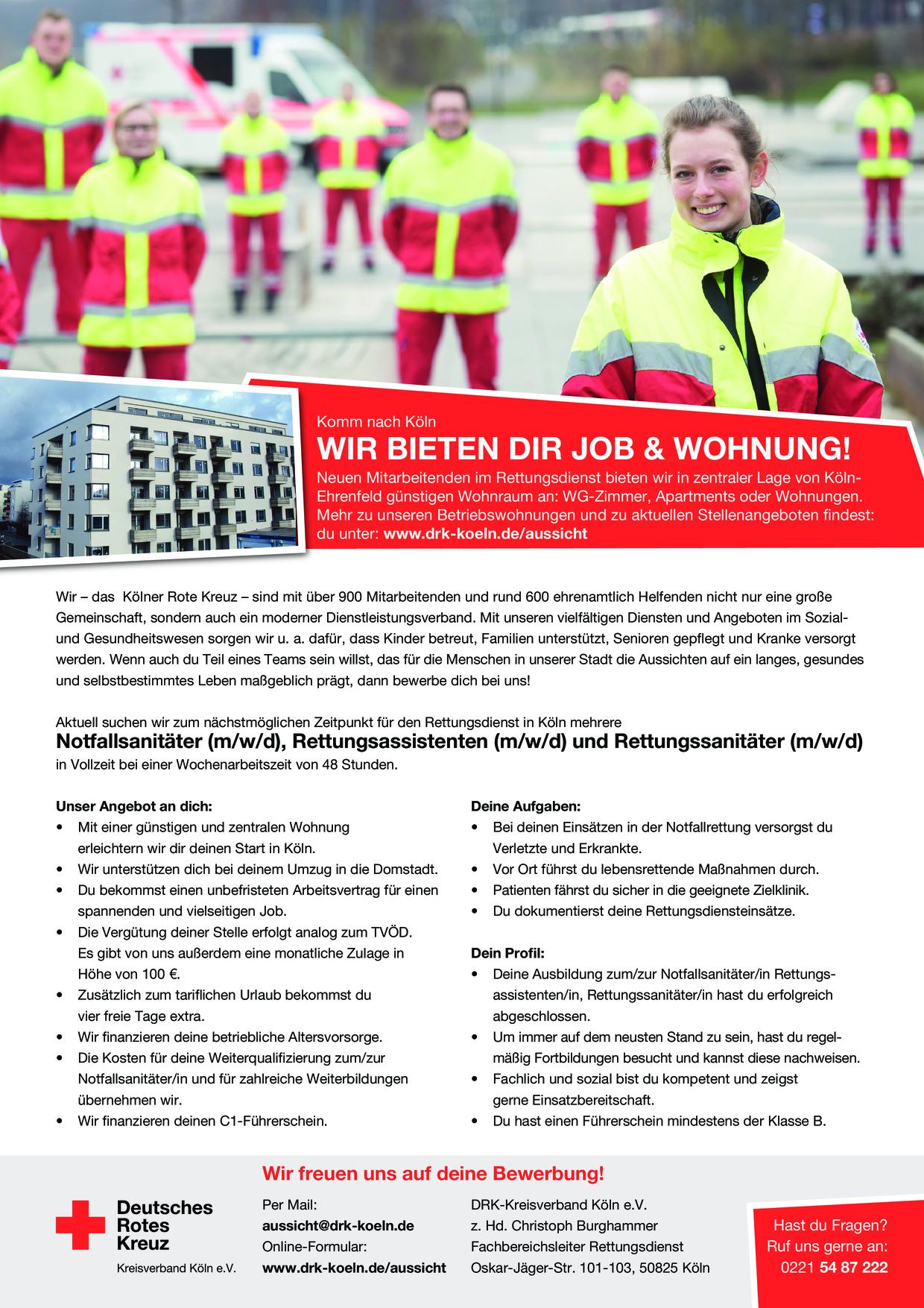 Stellenangebot Notfallsanitäter (m/w/d) mit Betriebswohnung  in Köln gesucht
