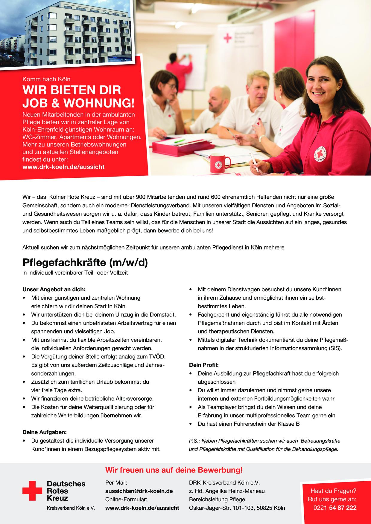 Stellenangebot Pflegefachkraft (m/w/d) mit Betriebswohnung in Köln gesucht